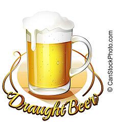um, draught, cerveja, etiqueta, e, um, jarro, de, cerveja fria