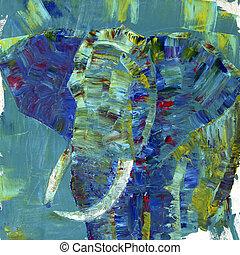 um, elefante, pintado, com, acrílicos