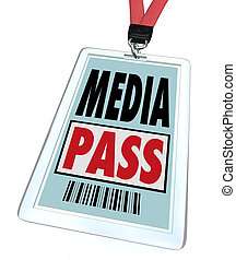 um, emblema, e, lanyard, leitura, mídia, passagem, dar, um,...