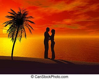 um, embracing pares, um ao outro, em, sunset.