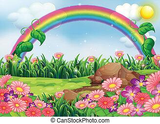 um, encantar, jardim, com, um, arco íris
