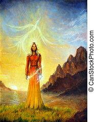 um, encantar, místico, sacerdotisa, com, um, espada, luz,...
