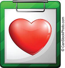 um, enfermeira, mapa, com, um, coração