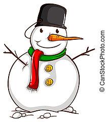 um esboço, de, um, boneco neve