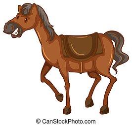 um esboço, de, um, cavalo