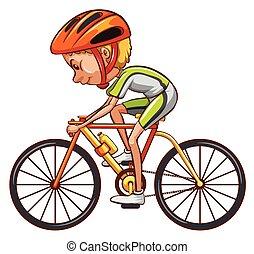 um esboço, de, um, ciclista