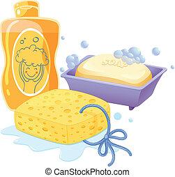 um, esponja, um, sabonetes, e, um, shampoo