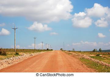 um, estrada rural, com, nublado, céus azuis