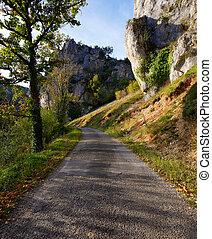 um, estrada rural, ligado, um, ensolarado, dia outono