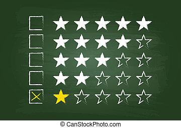 um, estrela, avaliação, cliente