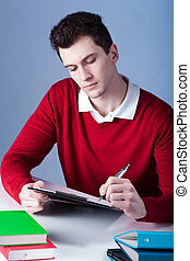 um, estudante, fazer anota