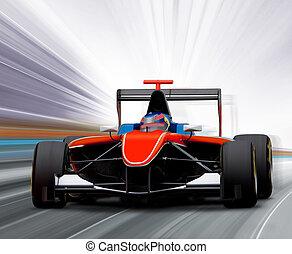 um, fórmula, corra carro
