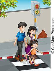 um, família, cruzando rua