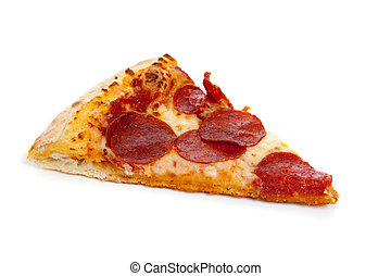 um, fatia, de, pizza pepperoni, branco
