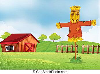 um, fazenda, com, um, celeiro, e, um, espantalho