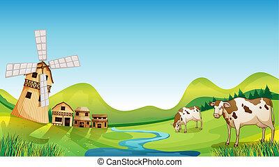 um, fazenda, com, um, celeiro, e, vacas