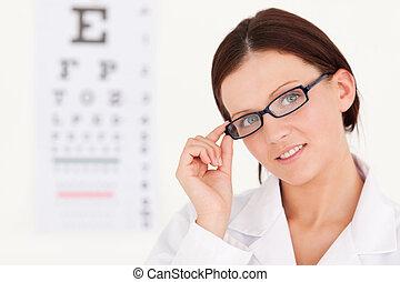 um, femininas, oculista, com, óculos