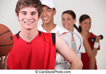 um, fila, de, atletas