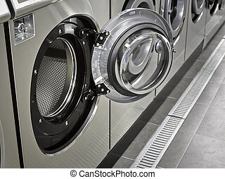 um, fila, de, industrial, lavadoras roupa, em, um, público,...
