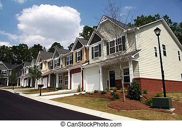 um, fila, de, novo, townhomes, ou, condominiums.