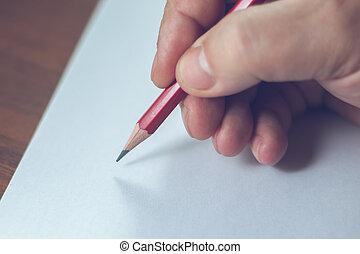 um, fim, foto, de, um, pessoas, escrevendo uma carta, com,...