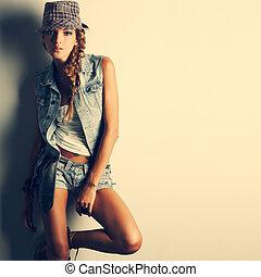 um, foto, de, bonito, menina, é, em, moda, estilo