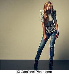 um, foto, de, bonito, menina, é, em, moda, estilo, glamur