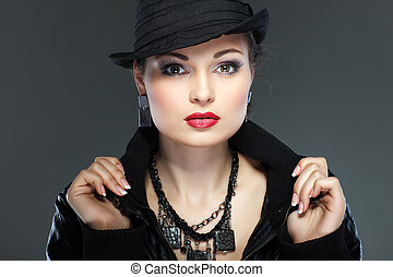 um, foto, de, sexual, bonito, menina, é, em, moda, estilo