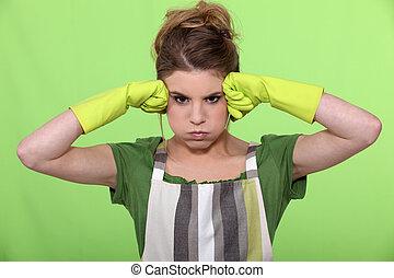 um, frustrado, dona de casa
