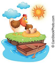 um, galinha, com, ovos, em, um, ilha