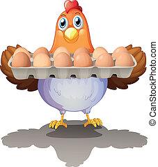 um, galinha, segurando, um, bandeja, de, ovos