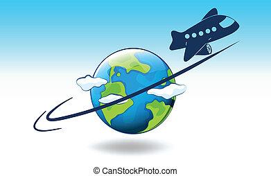 um, globo, e, um, avião