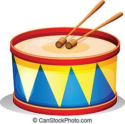 um, grande, brinquedo, tambor