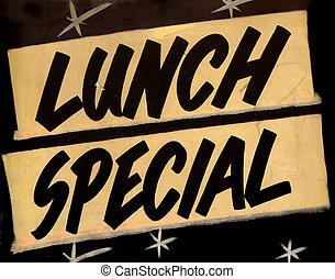 um, grungy, almoço especial, sinal