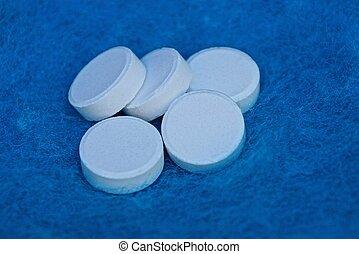 um, grupo, branca, pílulas, ligado, azul, lã