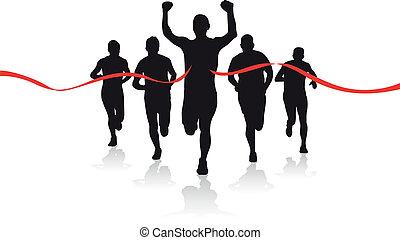 um, grupo, de, corredores