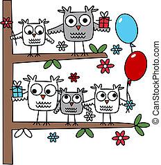 um, grupo, de, corujas, em, um, árvore