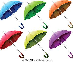 um, grupo, de, guarda-chuvas