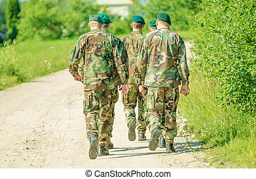um, grupo, de, homem, em, uniforme militar