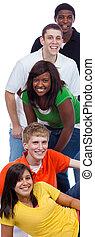 um, grupo, de, jovem, faculdade, students/friends, branco
