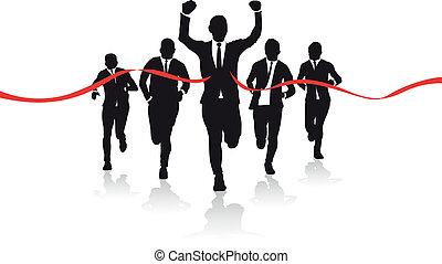 um, grupo, de, negócio, corredores