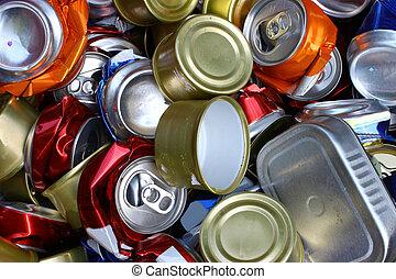 um, grupo, esmagado, alumnium, latas, todos ao mesmo tempo,...