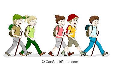 um, grupo, hiking