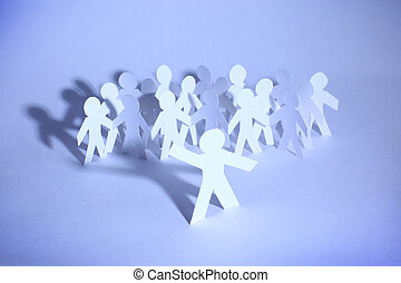 um, grupo, povos papel, segurar passa, indicar, apoio comunidade, sociedade, e, togetherness.
