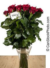 um, grupo rosas, em, vaso vidro, com, nota