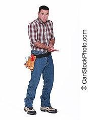 um, handyman, quem, magoado, seu, mão.