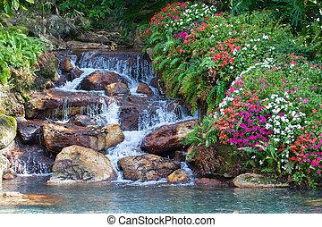 um, hdr, paisagem, de, um, cachoeira