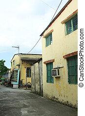 um, história, residencial, casa, em, hong kong