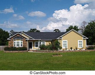 um, história, residencial, lar