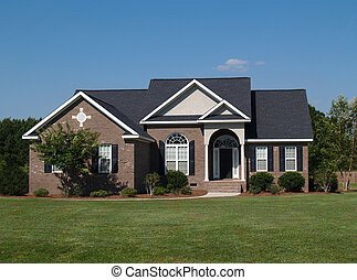 um, história, tijolo, residencial, home.